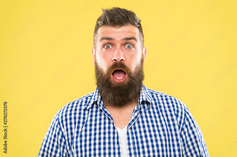Fototapety, obrazy: Wondering every time. Man bearded hipster wondering face yellow background close up. Guy surprised face expression. Hipster emotional surprised expression. Rustic surprised macho. Surprising news