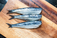 Fresh Sardines On A Wooden Cho...