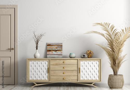 Fotografie, Obraz  Modern living room interior with door and sideboard 3d rendering