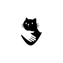 Human Hand Hugs Cat In Negative Space Logo Vector Icon Illustration