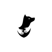 Human Hand Hugs Dog In Negative Space Logo Vector Icon Illustration