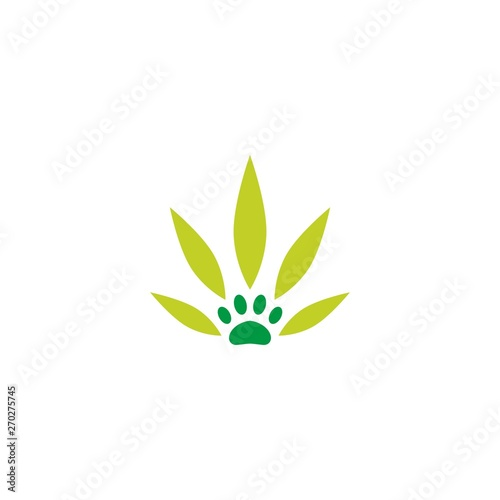 pet paw cannabis leaf logo vector icon illustration Canvas Print