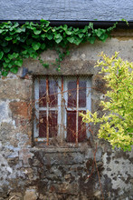 Window Of An Abandoned And Neglected Farmhouse, Brittany, France, With Bars Over The Window And Overgrown Plants