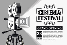 Cinema Poster With Retro Movie...