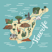Drawing Illustrated Tenerife Detailed Map With Places, Sights And Landmarks. Tenerife Cartoon Touristic Map.