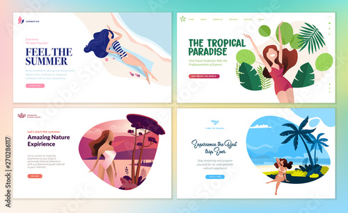 Montage in der Fensternische Weiß Set of flat design web page templates of summer vacation, travel destination, nature, tourism. Modern vector illustration concepts for website and mobile website development.
