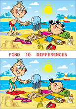 Puzzle With Cartoon Children On The Beach, Where You Need To Find Differences In The Pictures.  Vector Illustration For Educational And Entertainment Programs For Children.