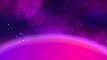 Big Pink Planet. Starry Space Vector Illustration.