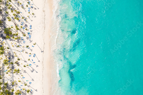 Aerial view from drone on caribbean seashore with coconut palm trees and sunbeds Fototapete