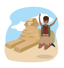 Woman Jumping With Backpack To Egypt Sculpture Adventure