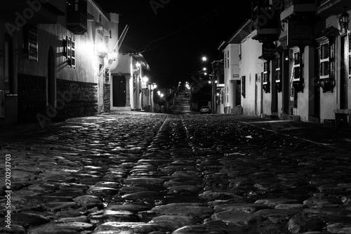 old town street at night Canvas Print