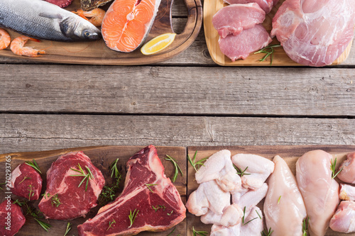 Assortment of meat and seafood - 270293765