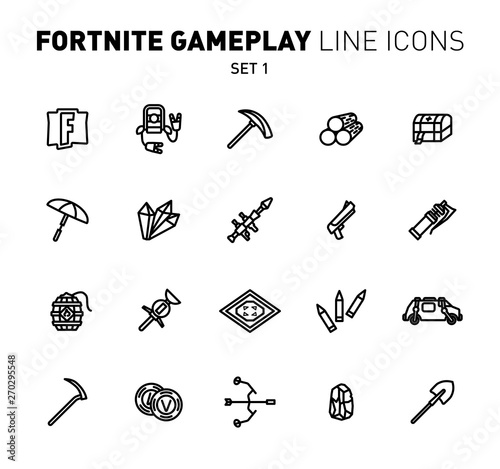 Photo  Fortnite epic game play outline icons
