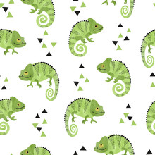Seamless Pattern With Cute Watercolor Chameleons. Green Lizards.