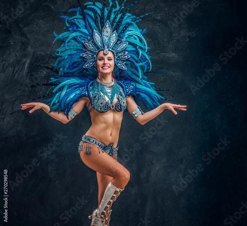 Fotografie, Obraz  Happy brasil dancer is posing for photographer
