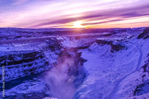 Printed kitchen splashbacks Purple Gullfoss Wasserfall im Winter, Golden Circle, Island, Europa