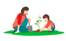 Mom And Daughter Plant A Tree Together. Vector Illustration On White Background.