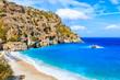 Leinwandbild Motiv View of idyllic Achata beach and azure sea, Karpathos island, Greece