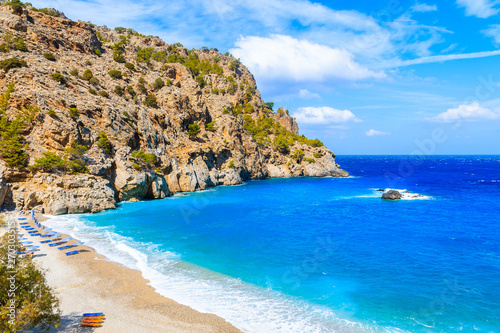 View of idyllic Achata beach and azure sea, Karpathos island, Greece Canvas Print