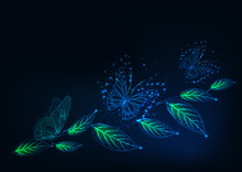 Futuristic Web Banner Template With Glowing Low Polygonal Butterflies And Green Leaves On Dark Blue.
