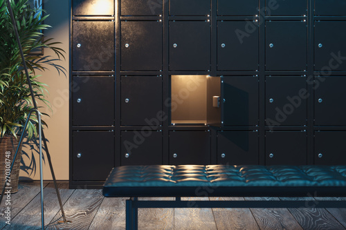 Fototapeta Safe deposit boxes with switched-on light. Safety closets. 3d rendering obraz