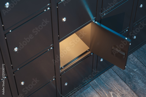 Fotografía  Safe deposit boxes with switched-on light