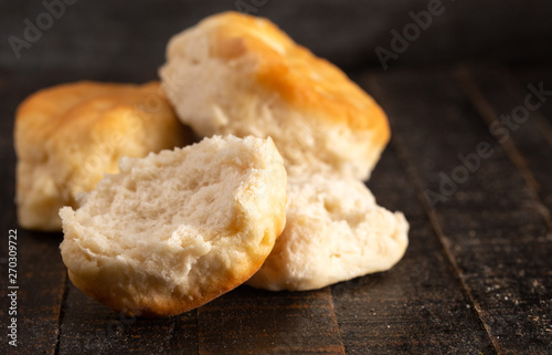 Canvas Buttermilk Biscuits on a Rustic Wooden Table