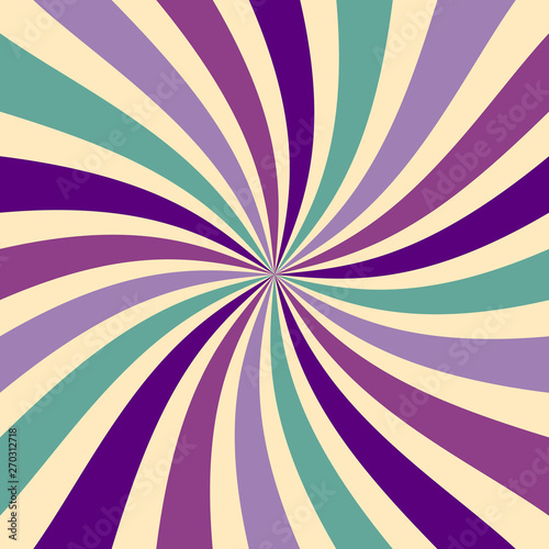 Spoed Fotobehang Pop Art retro sunburst background in abstract twirled pattern with a vintage color palette of purple green and beige in a spiral or swirled striped design
