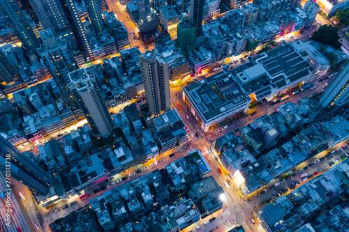 Slika na platnu Top view of Hong Kong city at night