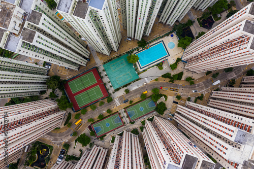 Top view of Hong Kong residential district Fotobehang
