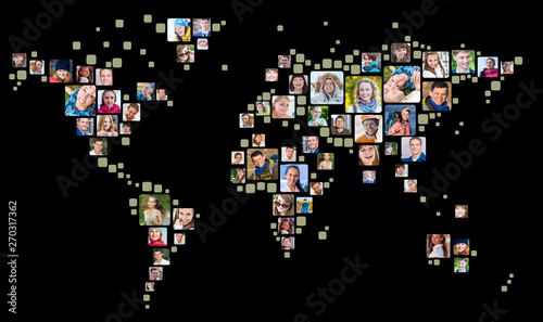 Collection of people portraits placed as world map shape. Global Business Concept