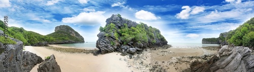 Wall Murals Beige Panorama landscape of Island and sand beach at Songpeenong Beach Ko Paluai ,Mu Ko Ang Thong National park