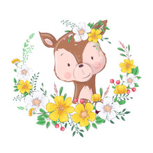 Postcard Poster Cute Little Deer In A Wreath Of Flowers. Hand Drawing. Vector