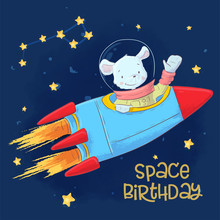 Postcard Poster Of Cute Astronaut Mouse In Space With Constellations And Stars In Cartoon Style. Hand Drawing