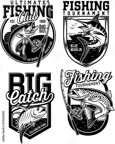 Set of Fishing Emblem Designs Wall mural