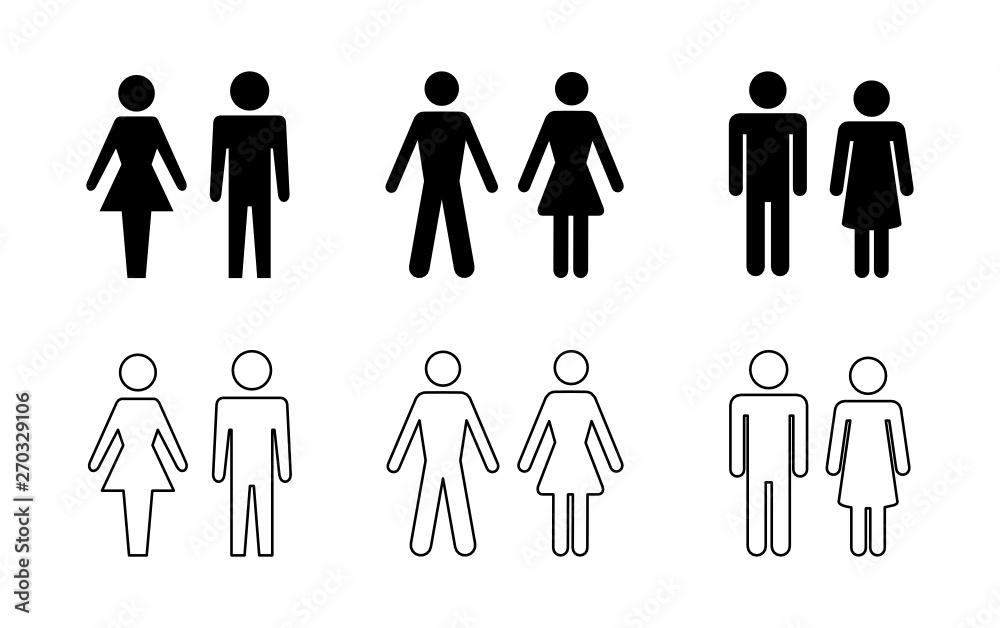 Fototapeta sylwetka mężczyzny i kobiety zestaw ikon