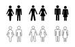 sylwetka mężczyzny i kobiety zestaw ikon