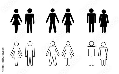 Fototapeta sylwetka mężczyzny i kobiety zestaw ikon obraz