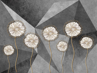 Panel Szklany 3D 3d illustration, gray background consisting of triangles, large fabulous dandelions