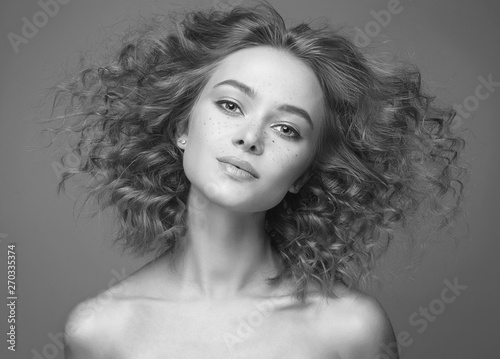 Recess Fitting Hair Salon frizzle hair Beautiful woman. black and white portrait