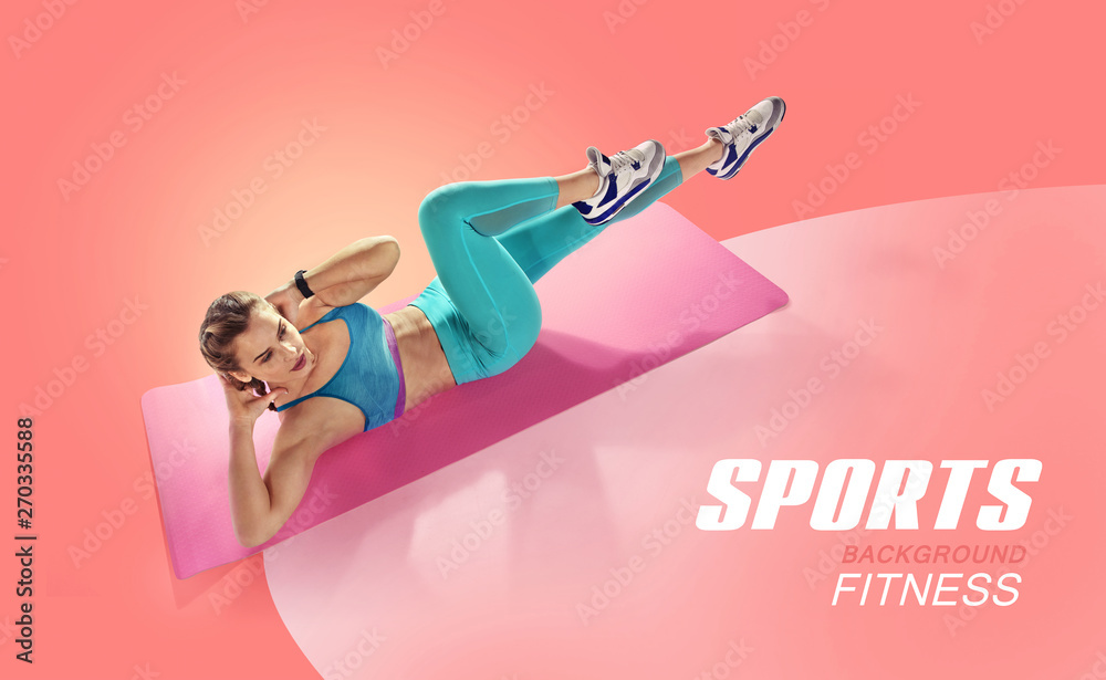 Fototapety, obrazy: Sport. Young fit female doing abdominal press twisting. Isolated fitness  Athlete. Silhouette.
