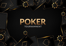 Playing Cards And Poker Chips Casino Concept On Dark Background