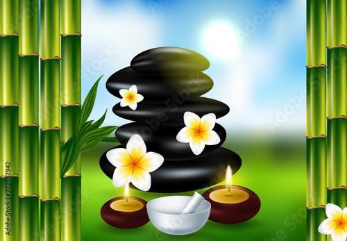 Fototapety, obrazy: Spa still life with frangipani flower, vector Eps10 illustration