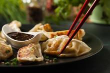Original Japanese Dumplings Gyoza With Chicken And Vegetables.Front View. Dark Blue Backgrund.