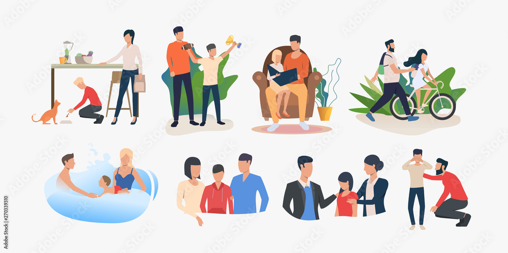 Fototapety, obrazy: Set of parents spending time with children and supporting them. Family activities and parenting. Vector illustration can be used for presentation slide, advertisement, business