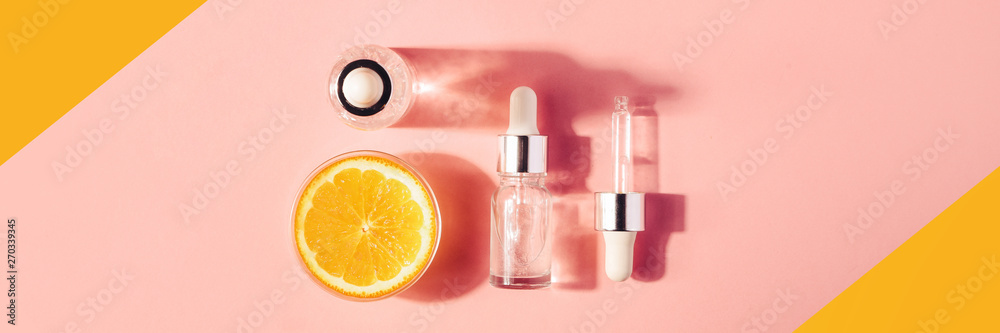 Fototapety, obrazy: Serum with vitamin C, concept design. Beauty therapy, body care. Minimalism Flat lay.
