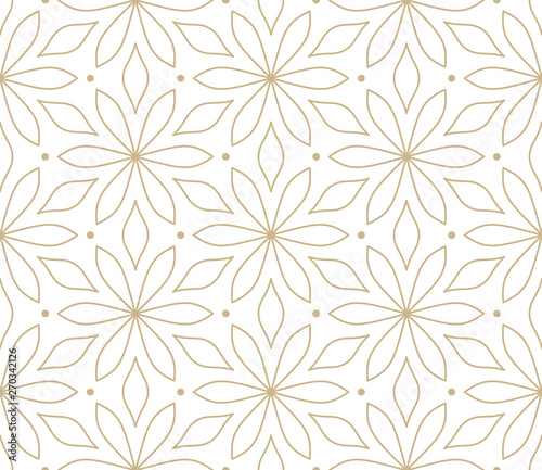 Modern simple geometric vector seamless pattern with gold flowers, line texture on white background. Light abstract floral wallpaper, bright tile ornament - 270342126