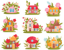 Set Of Fabulous Houses Of Different Shapes Among The Flowers And Grass. Vector Illustration On White Background.