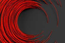 Digital Black Background Of Many Red Circles Rods Rotated At Random Angle And Forming A Frame Around An Empty Space 3D Illustration
