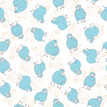 Hand Drawn Sheep Seamless Pattern On White Background, Sketch Style Blue And Yellow Wool Sheep. Cartoon Sheeps